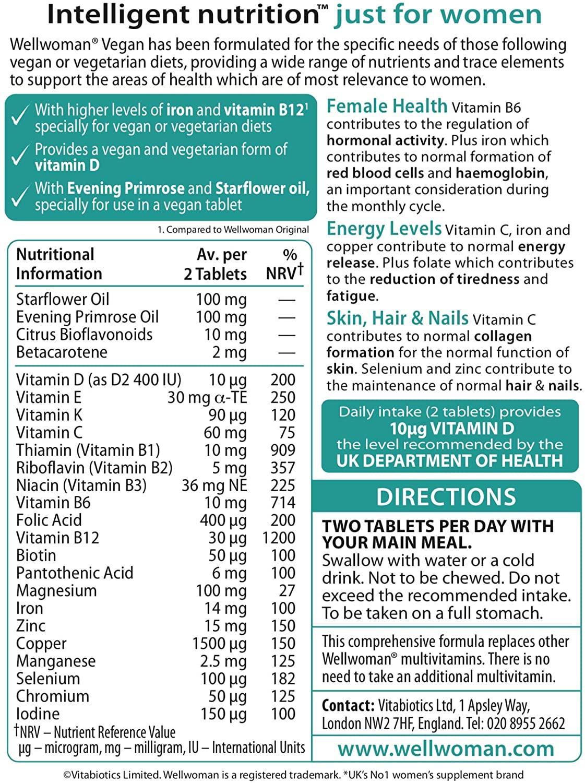 Vitabiotics Wellwoman Vegan 60 Tablets