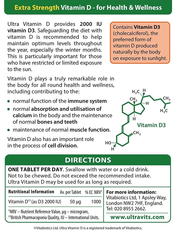 Vitabiotics Ultra Vitamin D 2000IU Extra Strength Tablets - 96 Tablets