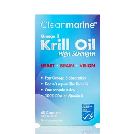 Cleanmarine Krill Oil 60 x 500mg Gelcaps High Strength Omega-3