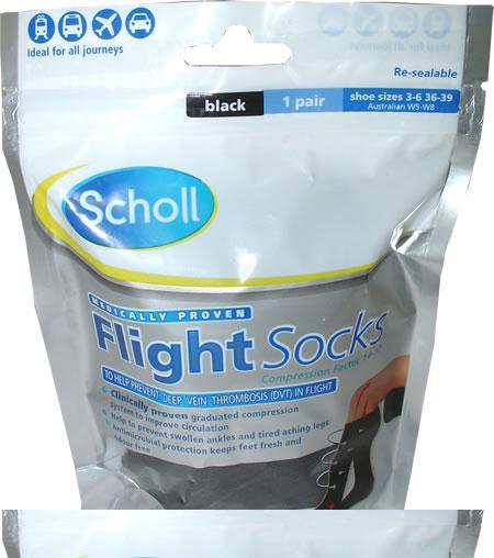 Scholl Black Cotton Feel Flight Socks - Size 9.5 to 12
