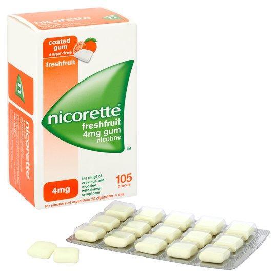 Nicorette Fresh Fruit 4mg Gum Nicotine 105 Pieces