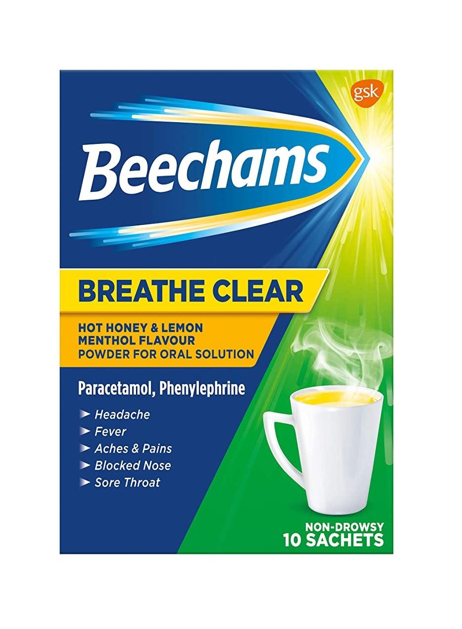Beechams Breathe Clear Cold and Flu Hot Honey and Lemon 10 Sachets