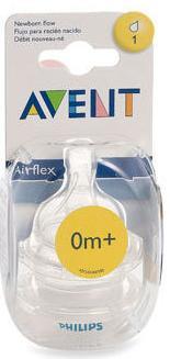 Avent Airflex Newborn Silicone Teats - 2 Teats