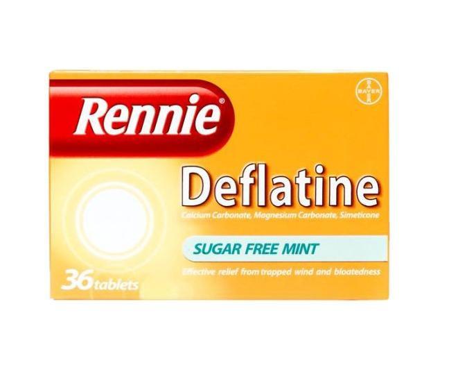 Rennie Deflatine Sugar Free Mint 36 Tablets