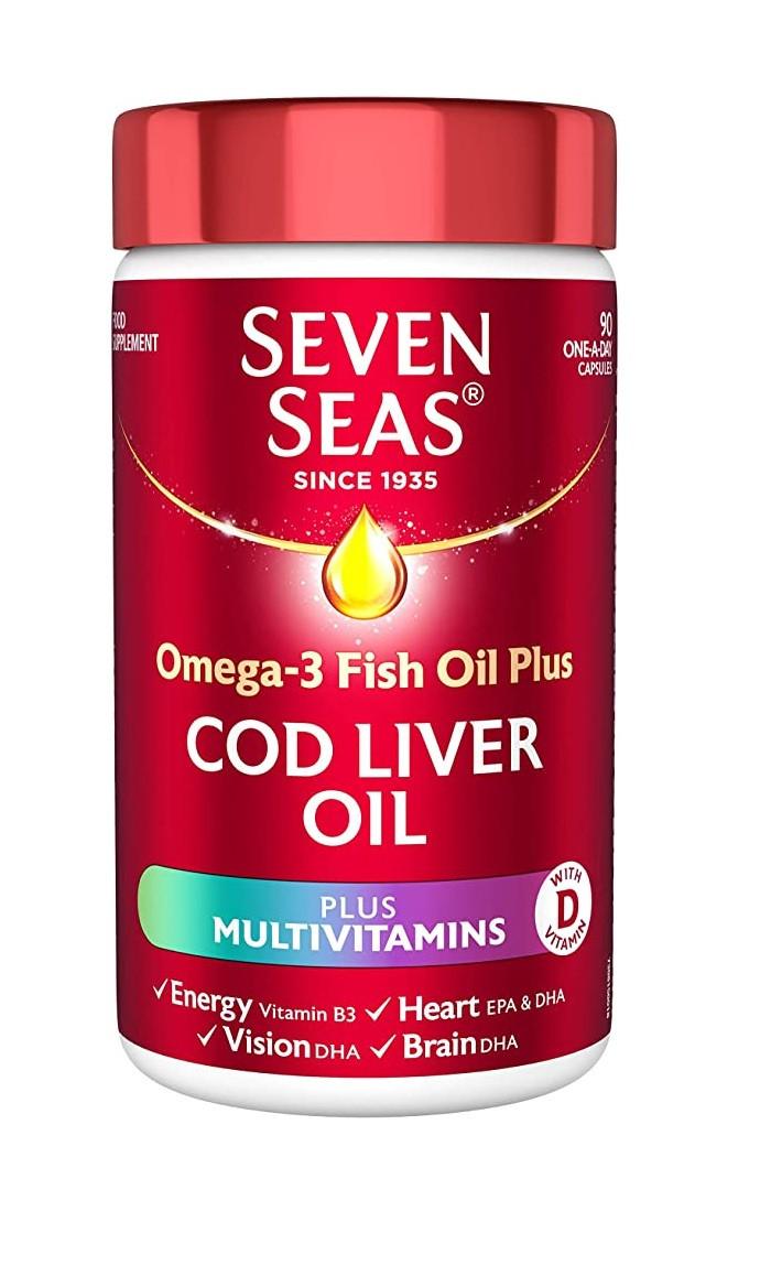 Seven Seas Omega-3 Fish Plus Cod Liver Oil and Multivitamins 90 Capsules