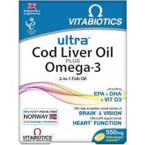 Vitabiotics Ultra Cod Liver Oil Plus Omega 3 Capsules - 60 Capsules