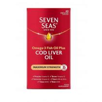 Seven Seas Omega-3 Fish Oil Plus Cod Liver Oil Maximum Strength 60 Capsules